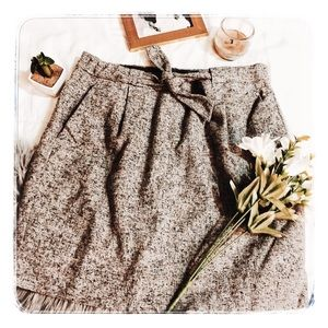 J. Crew Grey Speckle Tweed Pencil Skirt Tie Waist